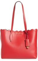 Miu Miu Small Wave Calfskin Leather Shopper - Red