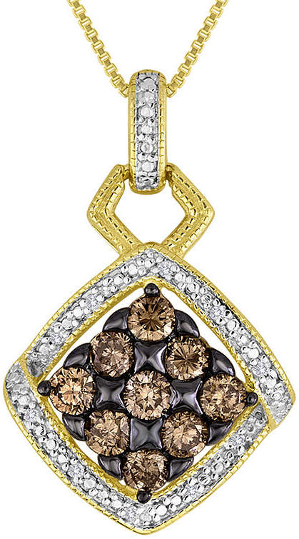 JCPenney FINE JEWELRY 3/4 CT. T.W. White and Champagne Diamond Pendant Necklace