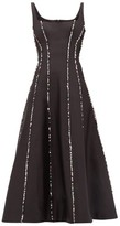 Rasario Sequinned Scoop-neck Silk Midi Dress - Womens - Black