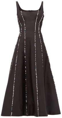Rasario Sequinned Scoop-neck Silk Midi Dress - Black