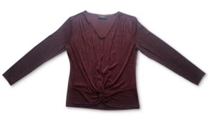 Alfani Knot-Front Metallic-Striped Top, Created for Macy's
