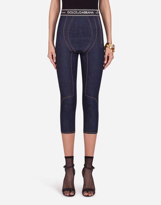 Dolce & Gabbana Denim Capri Pants With Branded Waistband