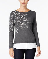Charter Club Embroidered Layered-Look Sweater, Only at Macy's