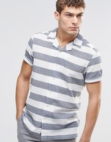 Asos Shirt With Block Stripe In Short Sleeve
