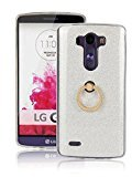 Moonmini LG G3 Case Cover Sparkling Slim Fit Soft TPU Back Case Cover with Ring Grip Stand Holder 2 in 1 Hybrid Glitter Bling Bling TPU phone Case Cover (Silver)