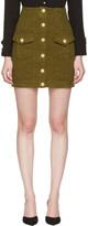 Balmain Khaki Denim Buttons Miniskirt