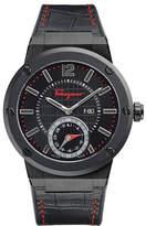 Salvatore Ferragamo 44mm F-80 Motion Leather Smartwatch with Contrast Topstitching, Black