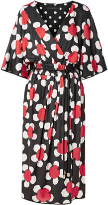 Marc Jacobs Wrap-effect Floral-print Jersey Midi Dress
