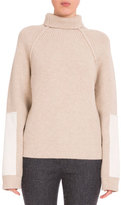 Victoria Beckham Turtleneck Sweater W/Contrast Patches, Cream