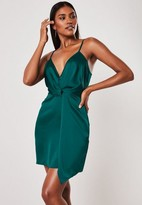 Missguided Teal Strappy Satin Shift Dress