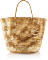 SENSI STUDIO Asymmetric striped straw tote