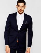 French Connection Plain Slim Fit Suit Jacket - Navy