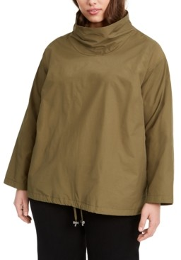 Eileen Fisher Plus Size Mock-Neck Pullover Coat