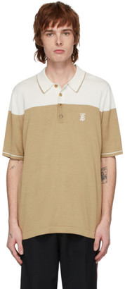 Burberry Beige and Off-White Silk Cashmere Brayton Polo