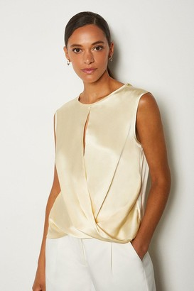 Karen Millen Silk Satin Sleeveless Wrap Blouse