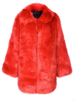 Rue Agthonis Red Eco Fur Coat