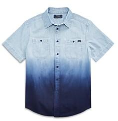 Ralph Lauren Polo Boys' Dip Dye Chambray Short Sleeve Shirt - Big Kid