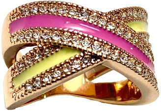 Covet Rose Gold Plated Pave CZ Criss Cross Ring