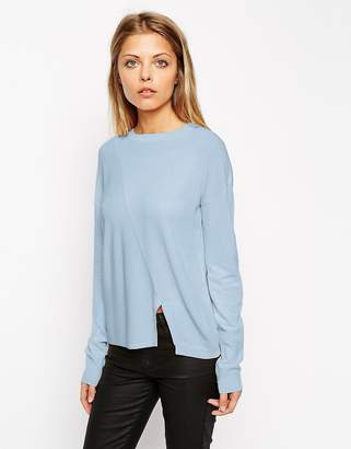 Asos Design Jumper In Structured Knit With Seam Detail-Blue