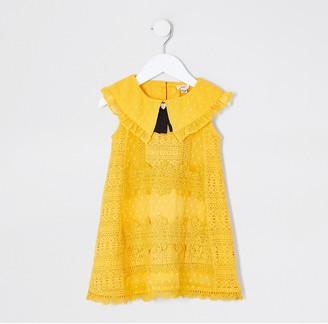 River Island Mini girls yellow lace swing dress
