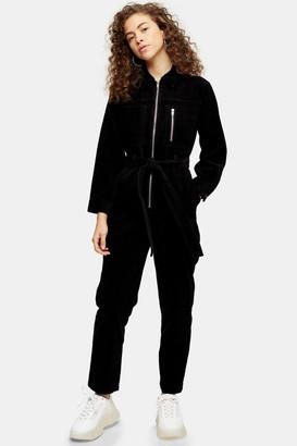 Topshop PETITE Black Corduroy Boiler Suit