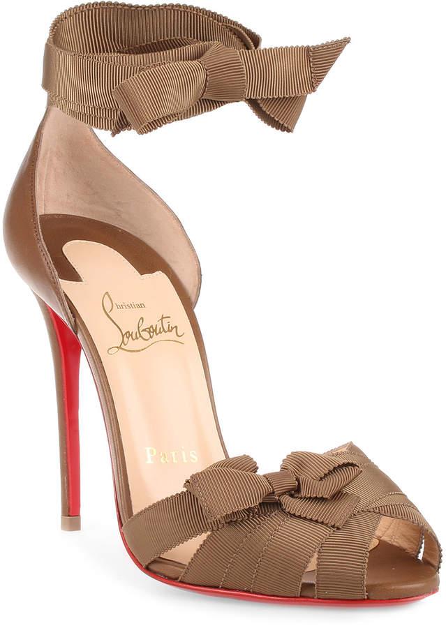 Christian Louboutin Christeriva 100 tan grosgrain sandal