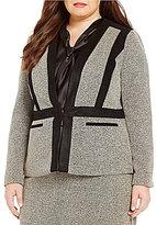 Kasper Plus Tweed Collarless Flyaway Jacket