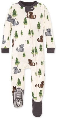 Burt's Bees Little Wolf Organic Baby Zip Up Footed Pajamas