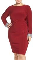 Marina Plus Size Women's Embellished Drape Back Jersey Cocktail Dress
