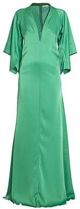 Victoria Beckham Satin Drape-Sleeve V-Neck Gown