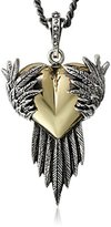 King Baby Studio Silver Raven Wings with Alloy Heart Pendant Necklace, 24""