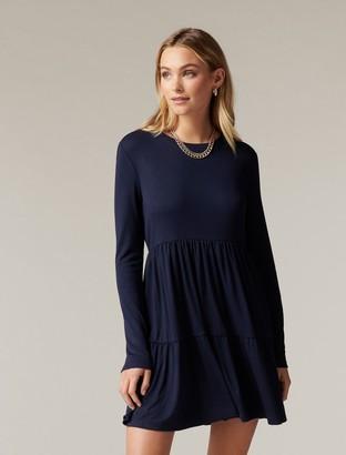 Forever New Sallie Long-Sleeve Smock Dress - Navy - 10