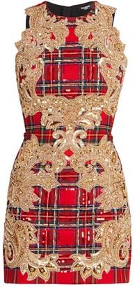 Balmain Embroidered Tartan Sleeveless Mini Dress
