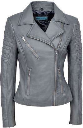 Carrie Hoxton Stylish Audrey New Ladies Grey Jacket Italian Real Lambskin Leather Biker Casual Style Design (12)
