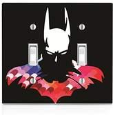 Bat Man Hero Silhouette Image Design Print Pattern Double Light Switch Plate