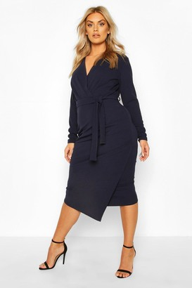 boohoo Plus Wrap Front Midi Dress