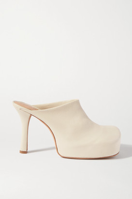 Bottega Veneta Leather Platform Mules - Off-white