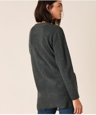 Monsoon Pearl Button Knitted Cardigan - Grey