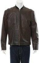 John Varvatos Leather Rib Knit-Trimmed Jacket