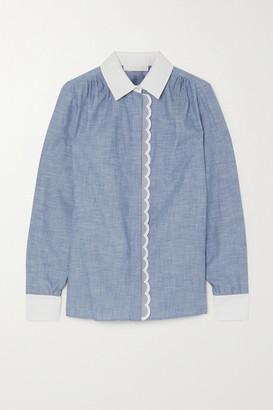 Chloé Scalloped Cotton-chambray Shirt - Light denim