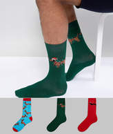 Asos Socks In Gift Box With Christmas Sausage Dog Design 3 Pack