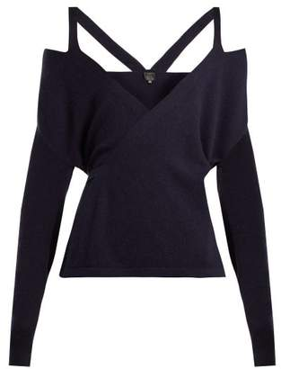 Pepper & Mayne Cut-out Shoulder Cashmere Wrap Cardigan - Womens - Navy
