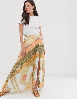 Asos Design DESIGN pleated maxi skirt in bright orange scarf print-Multi