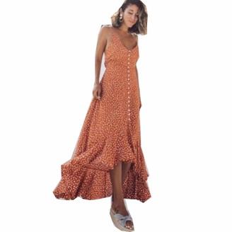 ilovgirl Summer Dresses Spaghetti Strap v Neck Polka dot Print Ruffle Asymmetric Hem Beach Holiday Fashion Maxi Dress (M=UK8