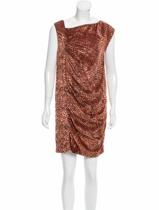 Valentino Ruched Devore Dress brown
