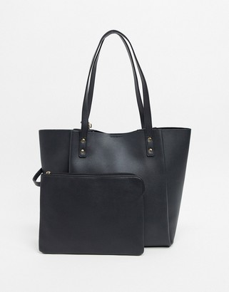 ASOS DESIGN bonded shopper bag with removable tablet case