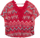 Speechless Print Circle Crochet Lace Top - Girls 7-16