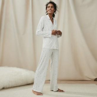 The White Company Jersey Moon & Star Pyjama Set, White Grey, Medium