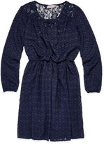 Speechless Long-Sleeve Navy Peasant Dress - Girls 7-16 and Plus