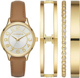 Liz Claiborne Womens Brown Watch Boxed Set-Lc9045